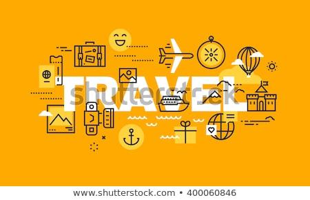 тонкий линия дизайна путешествия баннер туризма Сток-фото © Genestro