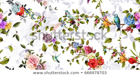 Stylized rose flowers bouquet. Branch of flowers and leaves interlacing. Corner Decorative Compositi Stock photo © ESSL