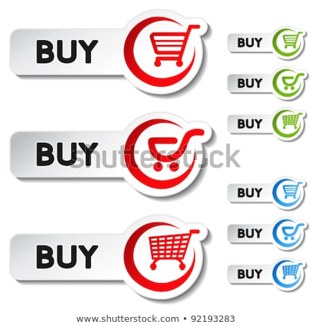 tick check shopping cart icon buttons green and red stock photo © Wetzkaz