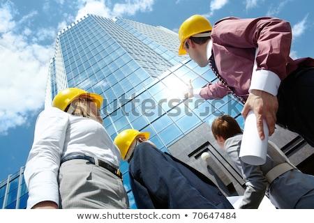 Bewolkt hemel business vrouw man Stockfoto © IS2