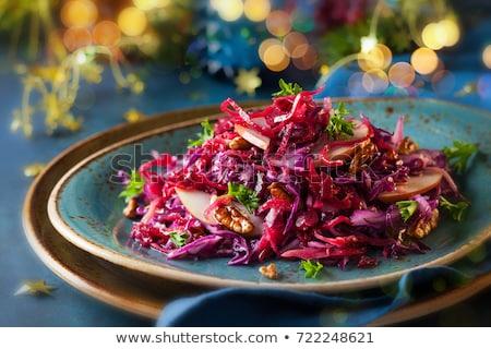 Rojo col ensalada alimentos madera cena Foto stock © M-studio