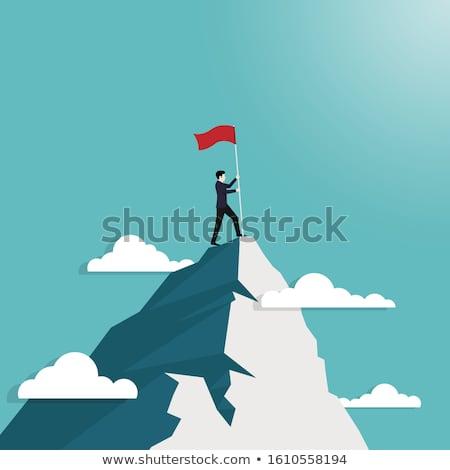 üzletember áll hegy grafikus gondolkodik üzlet Stock fotó © ra2studio