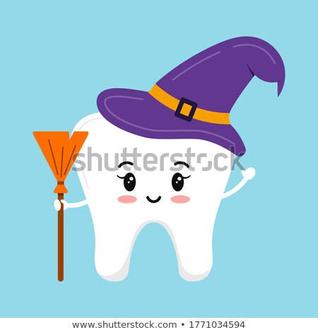 Cartoon witch in purple hat with broom isolated on white  Stock photo © TasiPas