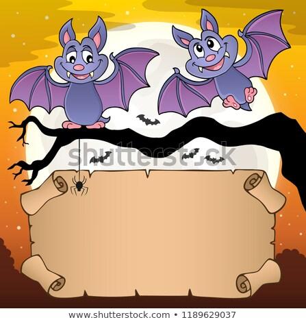 halloween · desenho · animado · vetor · grupo · voador · céu · noturno - foto stock © clairev
