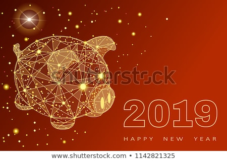 Chinese New Year 2019 low poly pink pig card vector illustration