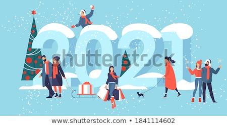 Heiter Weihnachten glückliches neues Jahr Inschrift Baum Stock foto © ikopylov
