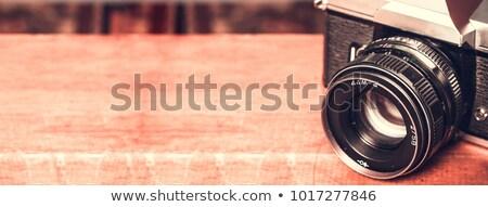 Stok fotoğraf: Profesyonel · fotoğraf · objektif · kapak · yalıtılmış · beyaz