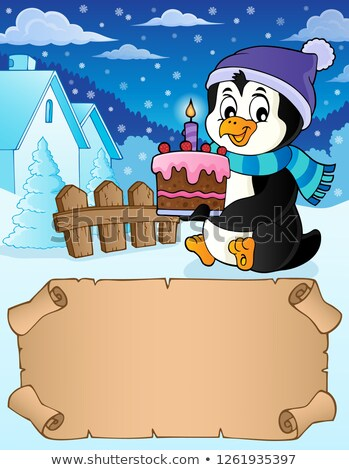 small parchment and penguin with cake stock photo © clairev