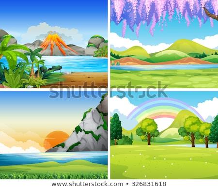 quatre · montagnes · illustration · arbre · nature · paysage - photo stock © colematt