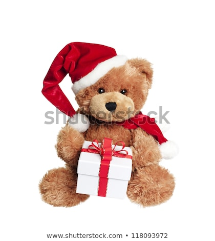Cute toy bear with Christmas gift Stock photo © boggy