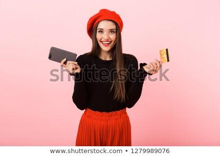 Retrato animado mulher jovem boina em pé Foto stock © deandrobot