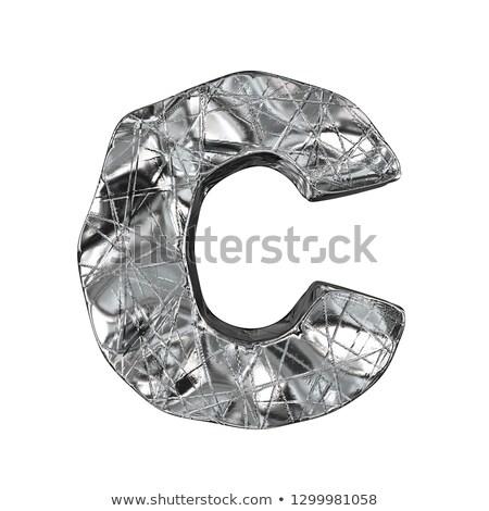 Grunge alumínium betűtípus c betű 3D 3d render Stock fotó © djmilic