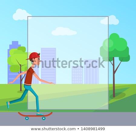 skateboarder sleeveless shirt jeans making tricks stock photo © robuart