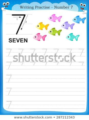 Schrijven praktijk aantal zeven illustratie school Stockfoto © colematt