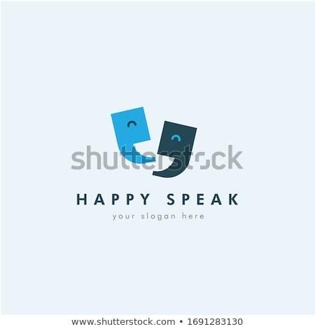 Balão de fala alfabeto ilustração educação azul cartas Foto stock © lenm