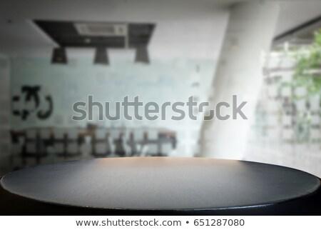 Kiválasztott fókusz üres fekete fa asztal tárgyalóterem Stock fotó © Freedomz