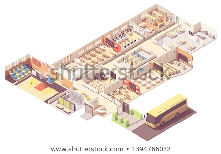 Vector isometrische school gebouw college basketbal Stockfoto © tele52