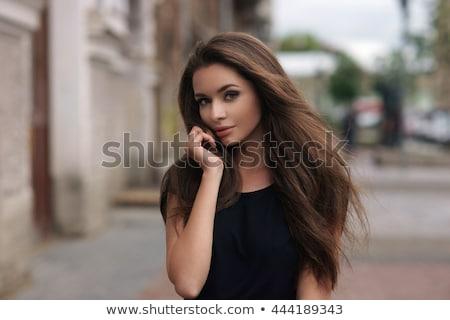 Stockfoto: Vrouw · haren · jurk · donkere · grijs · gezicht