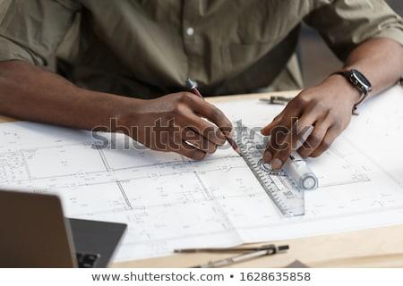 arquitectura · ingeniero · dibujo · de · trabajo · arquitectónico · proyecto - foto stock © freedomz