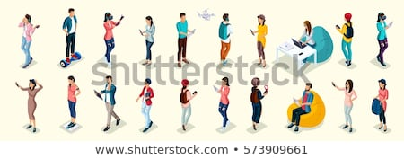 Set of People and Technology in Cartoon Style Stock photo © robuart