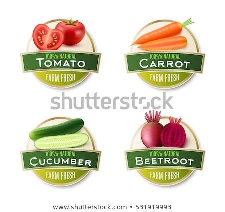 vegan food labels set in green colors Stock photo © SArts