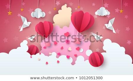 ストックフォト: 愛 · バルーン · 実例 · バレンタイン · 日 · 雲
