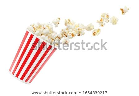 Torby papierowe pełny popcorn ikona odizolowany przezroczysty Zdjęcia stock © -TAlex-