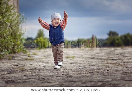 Blauw vest illustratie glimlach kinderen Stockfoto © bluering