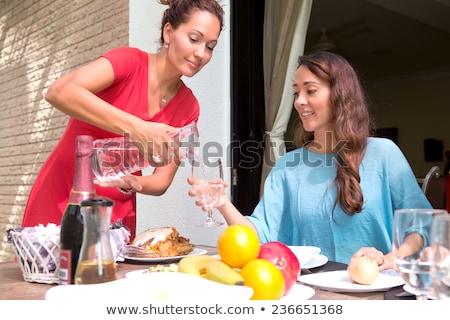 Hübsche Frau Mittagessen Trinkwasser anziehend jungen langhaarigen Stock foto © dash