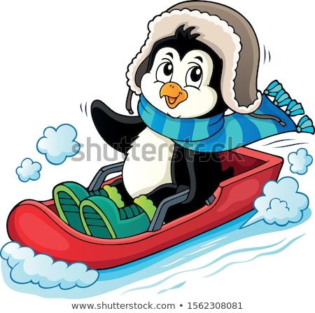 Pingouin image heureux sport art oiseau Photo stock © clairev