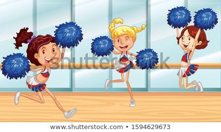 Drie dansen kamer illustratie meisje landschap Stockfoto © bluering