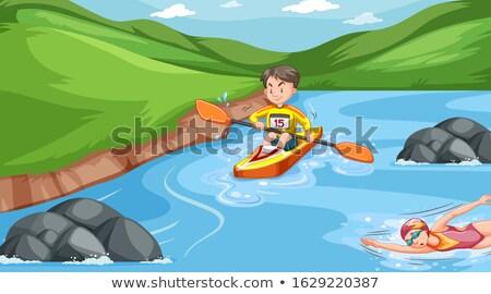 сцена спортсмена реке иллюстрация женщину воды Сток-фото © bluering