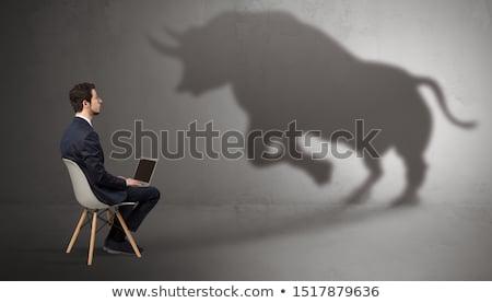 Zakenman aanbieden reusachtig schaduw man Stockfoto © ra2studio