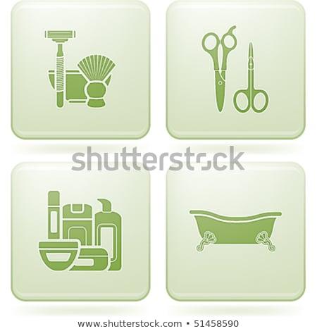 Tér ikon szett fürdőkád fürdőszoba kellékek egyéb Stock fotó © Vectorminator