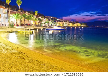 Korcula beach and waterfront colorful evening view Stock photo © xbrchx