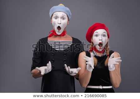 two funny mimes isolated on gray background Stock photo © ruslanshramko