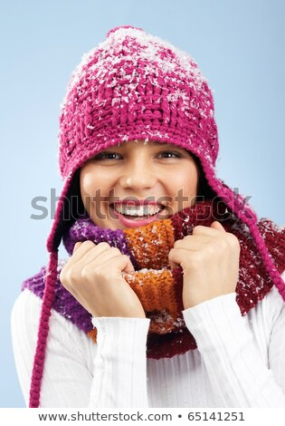 pretty woman with scarf and winter cap Stock photo © imarin