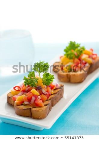 Mangó salsa gyümölcs kenyér pirítós hagyma Stock fotó © sarsmis