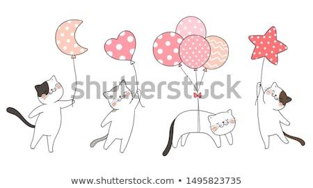 Kat hart ballon vector Rood partij Stockfoto © beaubelle