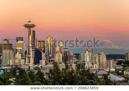 Seattle centrum skyline kleur Washington illustratie Stockfoto © davidgn