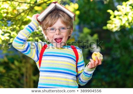 Schoolchild in glasses with apple Stock photo © dashapetrenko