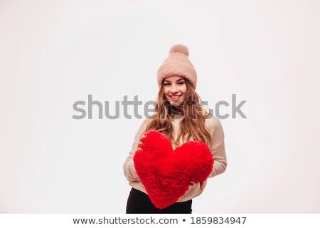 Beautiful girl with A red plush heart Stock photo © RuslanOmega