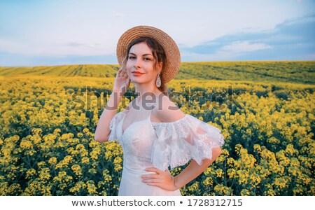 niña · feliz · cielo · amarillo · pradera · salud · deporte - foto stock © gromovataya