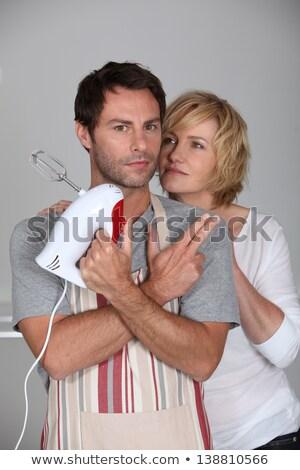 Hombre delantal mano mezclador esposa Foto stock © photography33