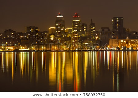 night skyline of dnipropetrovsk and river dnipro ukraine stock photo © maxpro