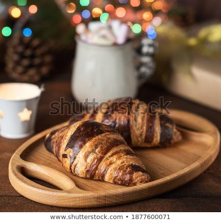 koffiekopje · achter · croissant · tabel · koffie · achtergrond - stockfoto © wavebreak_media