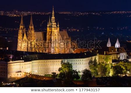 プラハ · 城 · 夕暮れ · チェコ共和国 · 教会 · 空 - ストックフォト © Roka