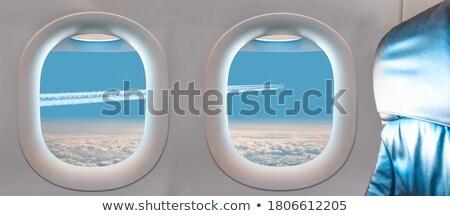 虹 日の出 飛行機 太陽 雲 ストックフォト © silkenphotography