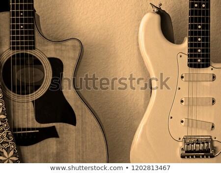 guitare · électrique · détail · vue · pont · bois - photo stock © sumners