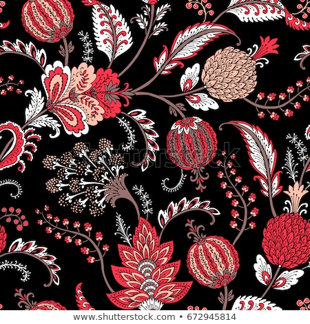vector seamless spring pattern paisley elements and flowers o stock photo © alexmakarova
